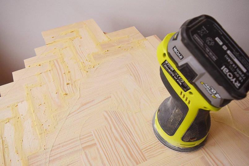 DIY Herringbone Desk - Filling | Little House On The CornerDIY Herringbone Desk - Sanding | Little House On The Corner