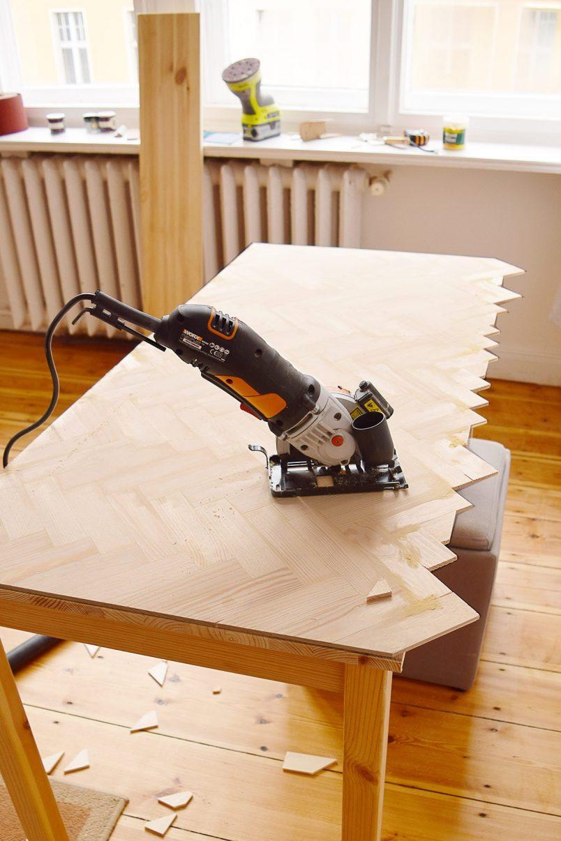 DIY Herringbone Desk - Before | Little House On The Corner