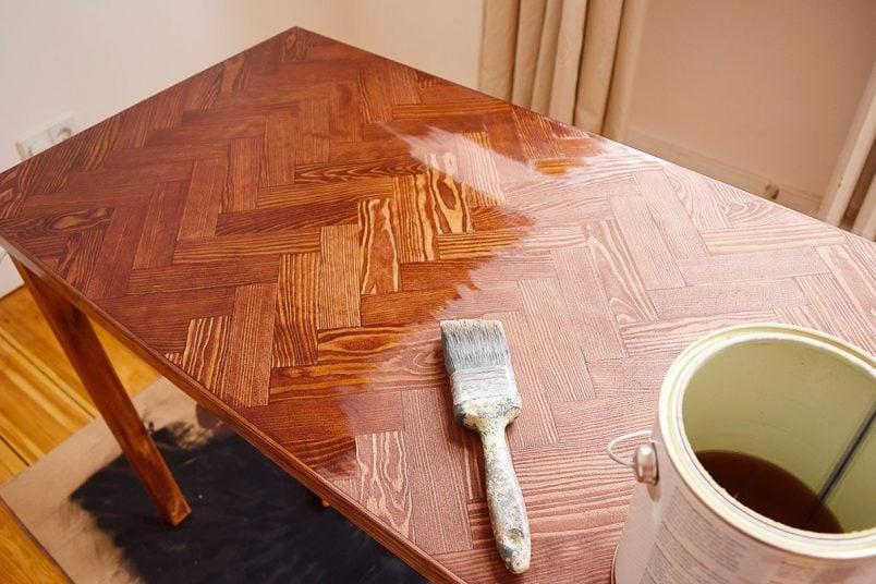DIY Herringbone Desk - Oiling | Little House On The Corner