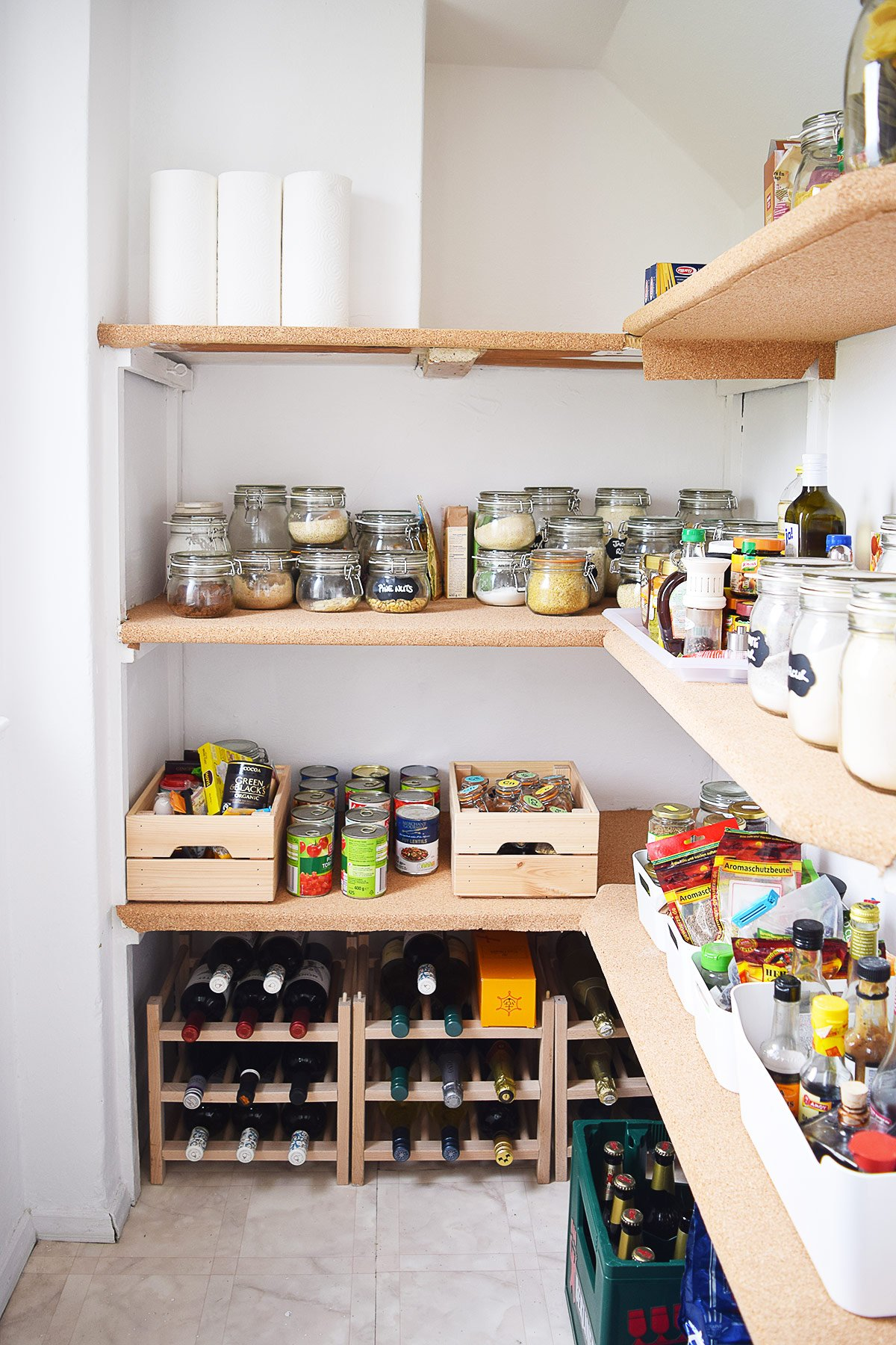 Pantry With Cork Covered Shelves | Little House On The Corner