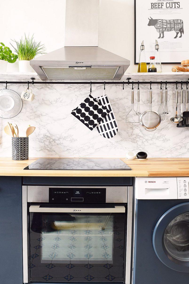 Kitchen Makeover | Faux Marble Backsplash | Little House On The Corner