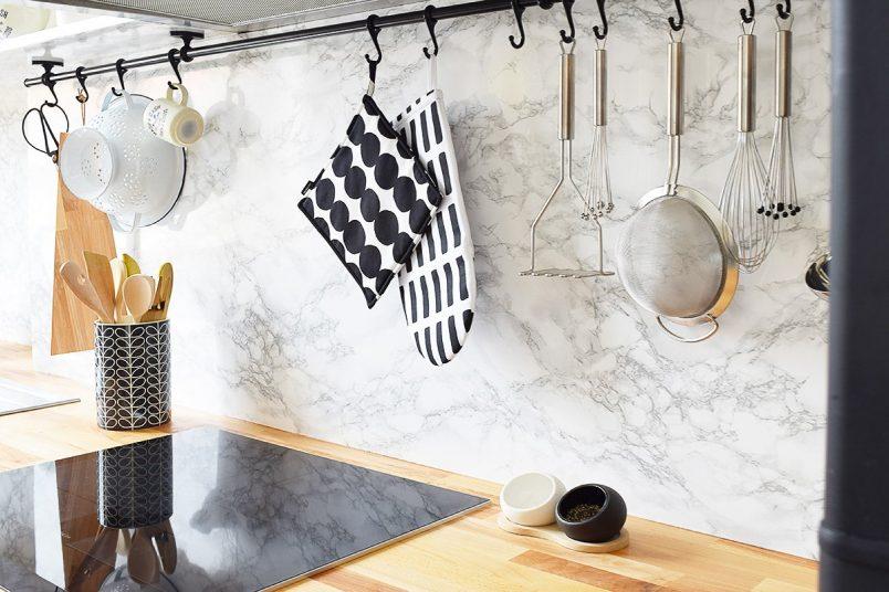 Kitchen Makeover   Faux Marble Backsplash   Little House On The Corner
