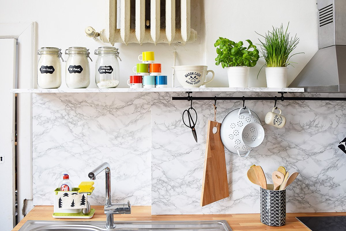 Kitchen Makeover | Faux Marble Backsplash | Little House On The Corner