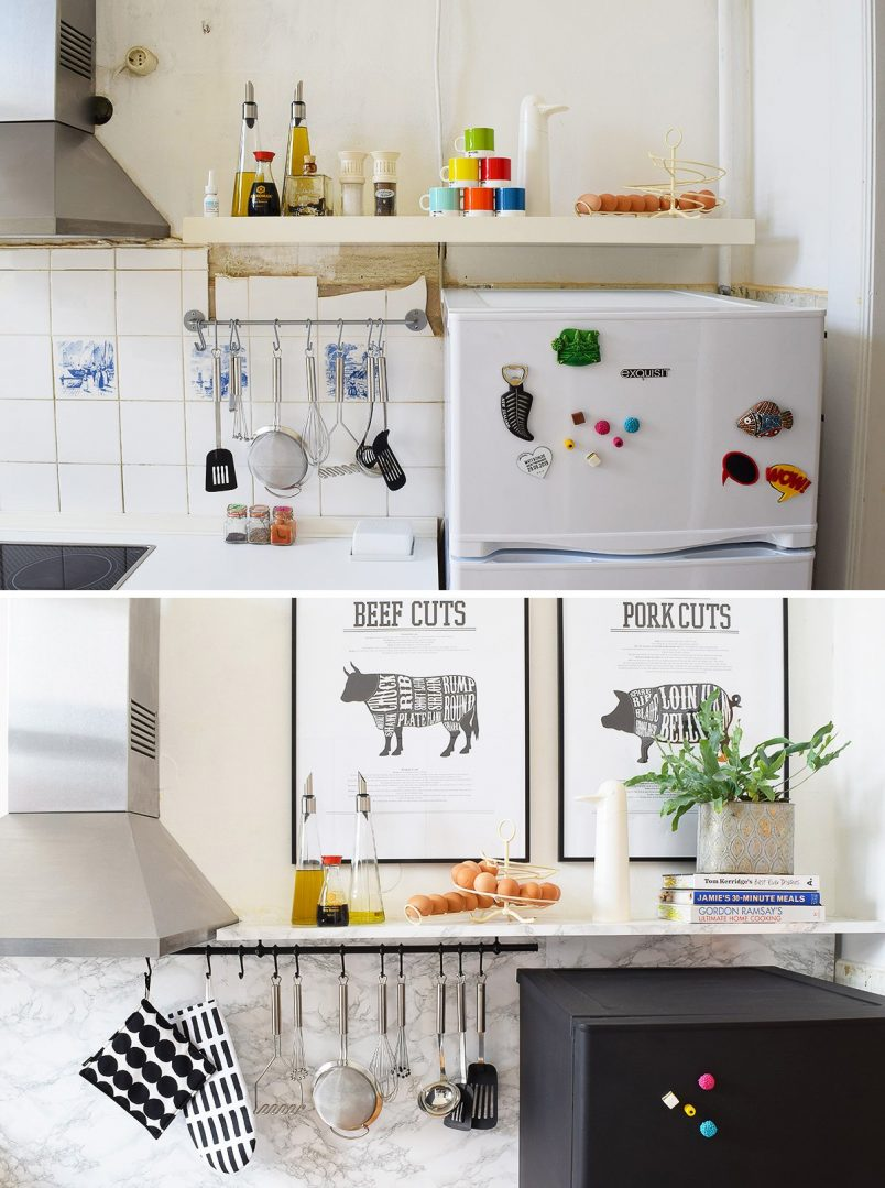 Kitchen Makeover - Painted Fridge + DIY Floating Shelves -Little House On The Corner