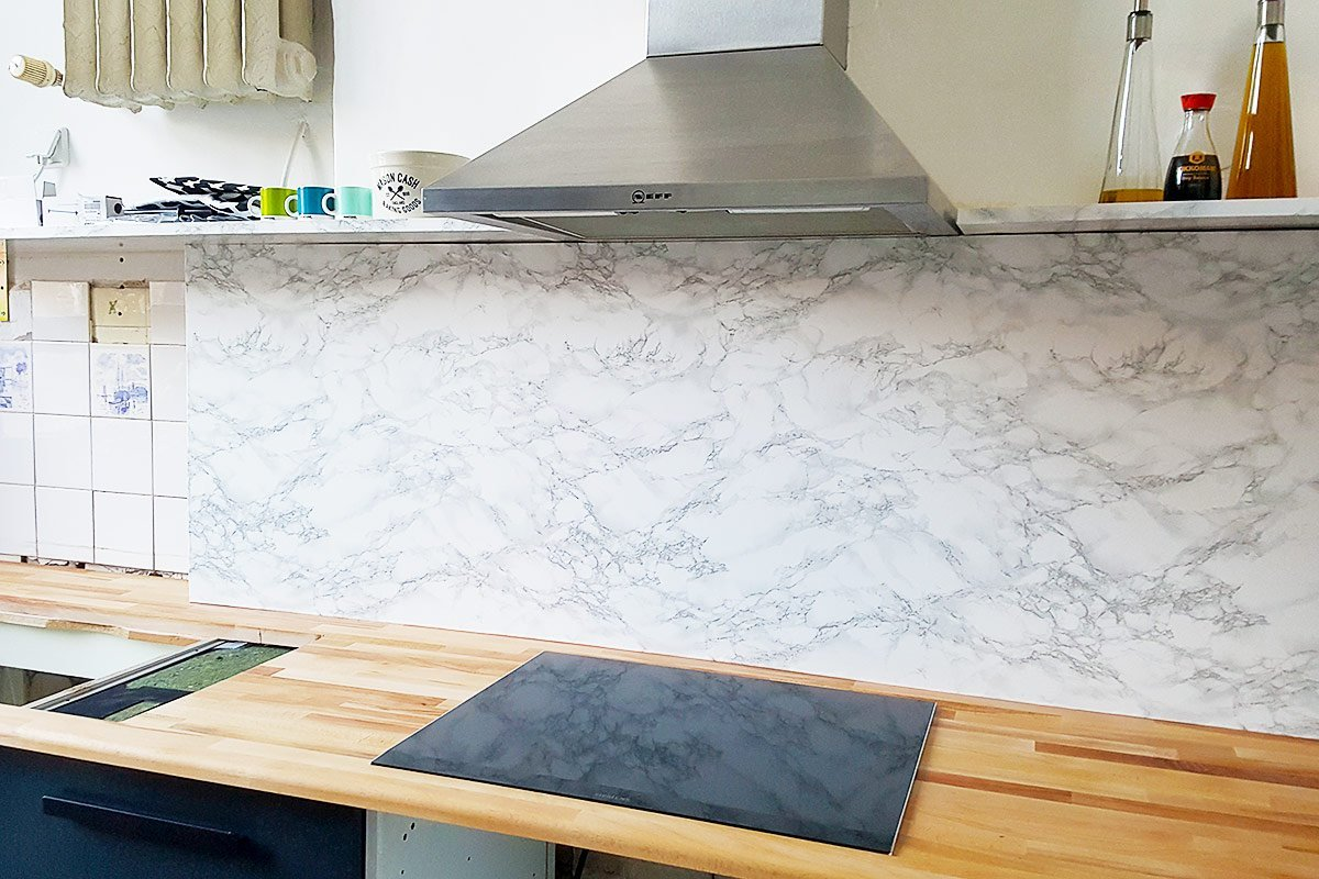 DIY Faux Marble Backsplash | Little House On The Corner