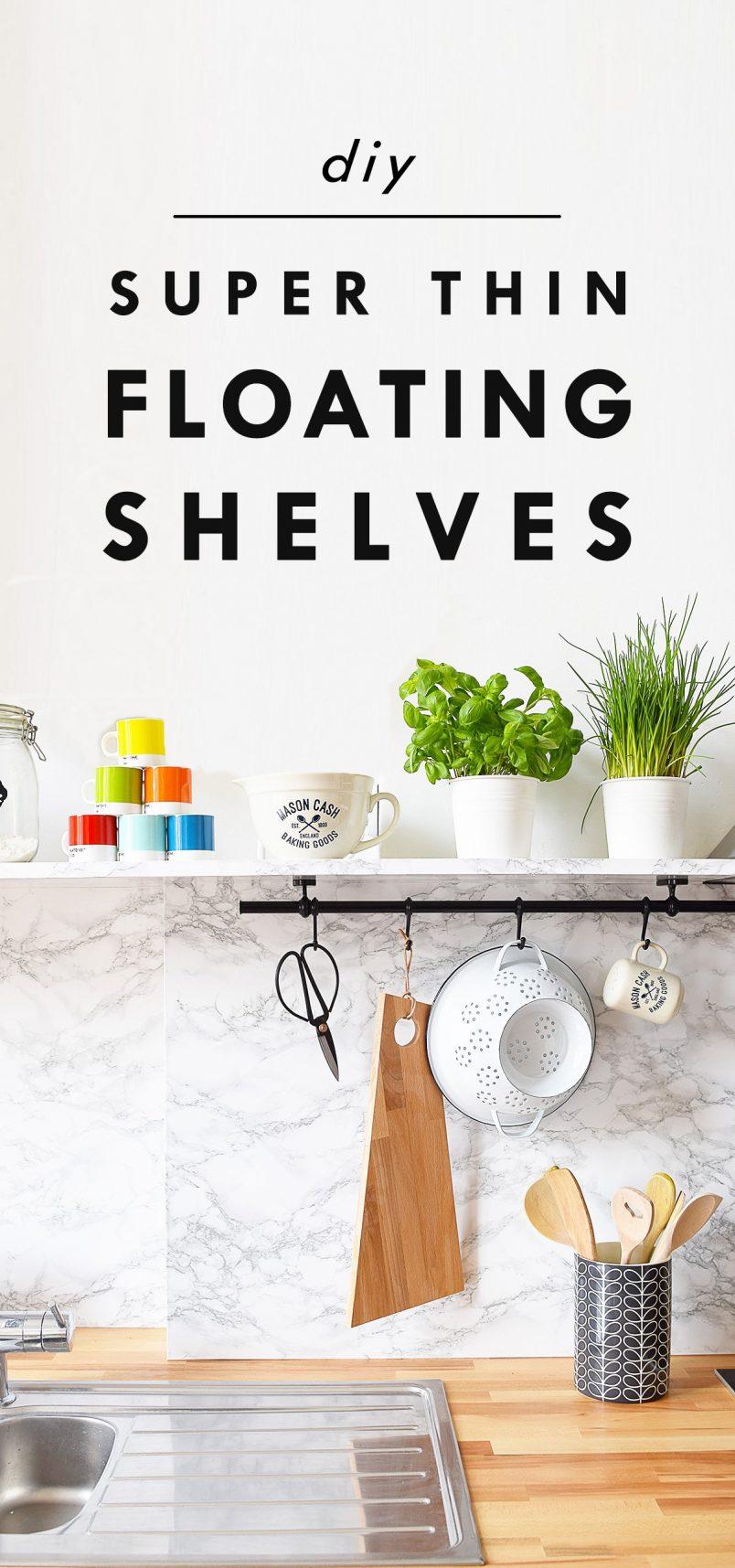 DIY Super Thin Floating Shelves | Little House On The Corner