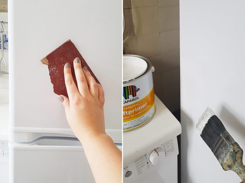 How To Paint A Fridge - Sand And Prime   Little House On The Corner