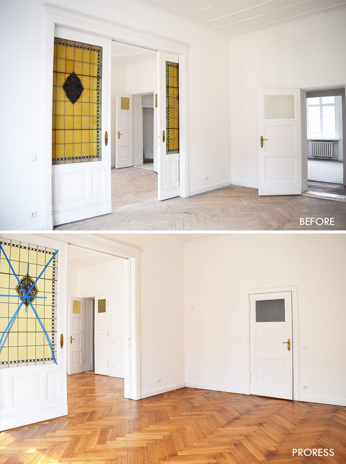 Sanded Herringbone Parquet Before and After | Little House On The Corner