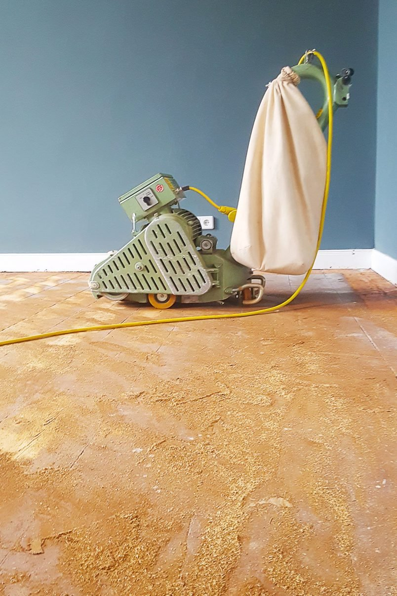 Floorsanding In Progress - 16 Grit Paper | Little House On The Corner