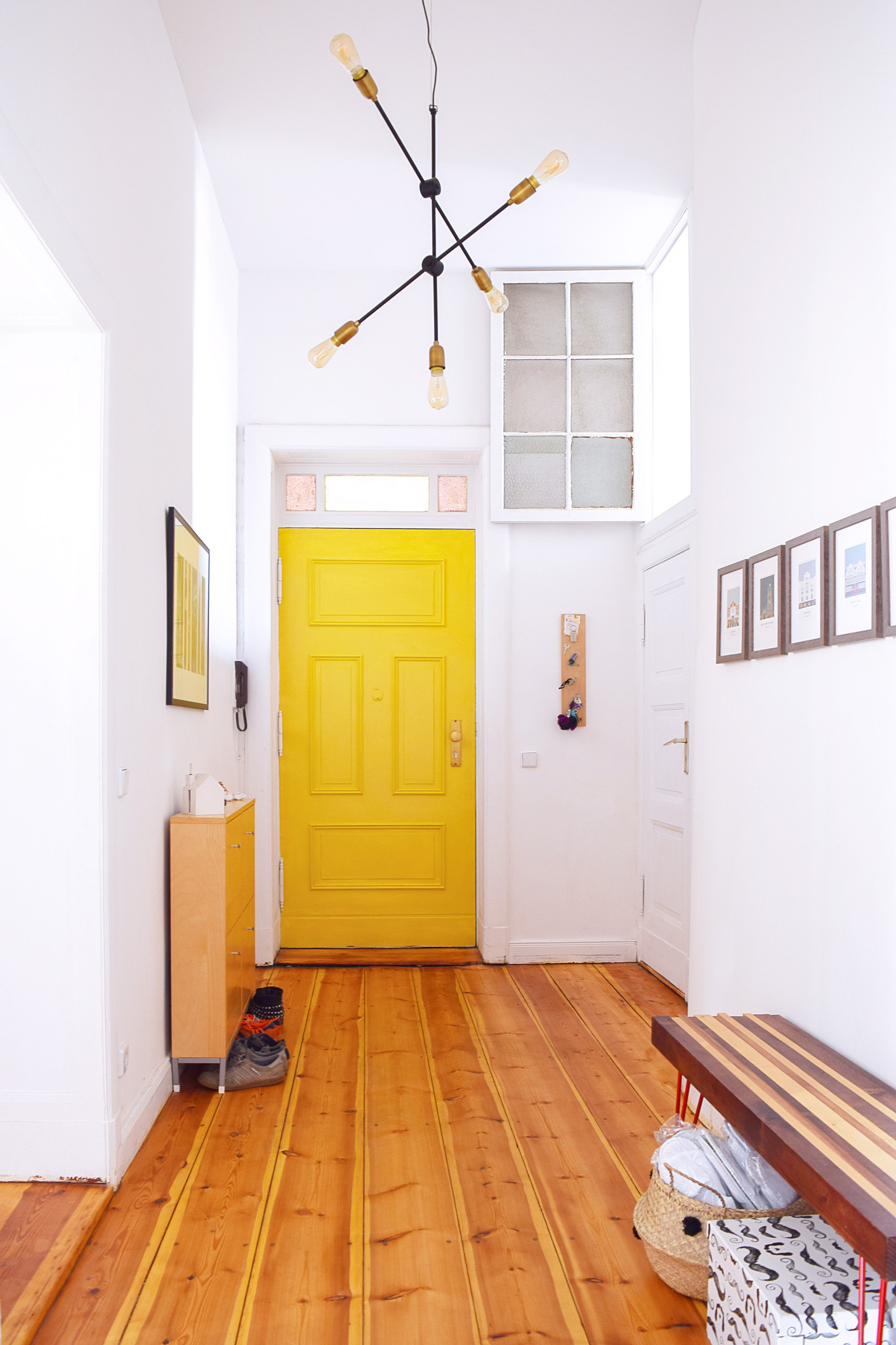 Hallway with Yellow Front Door (Babouche by Farrow & Ball) | Little House On The Corner