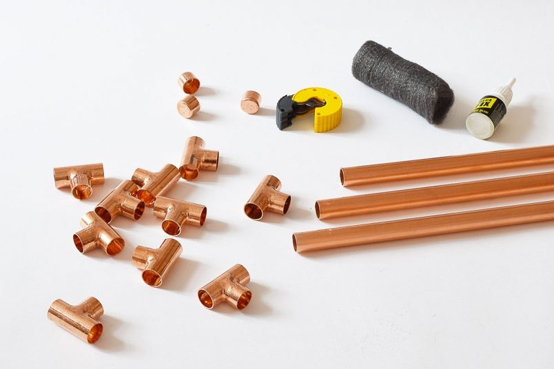 DIY Copper Towel Ladder - Supplies | Little House On The Corner