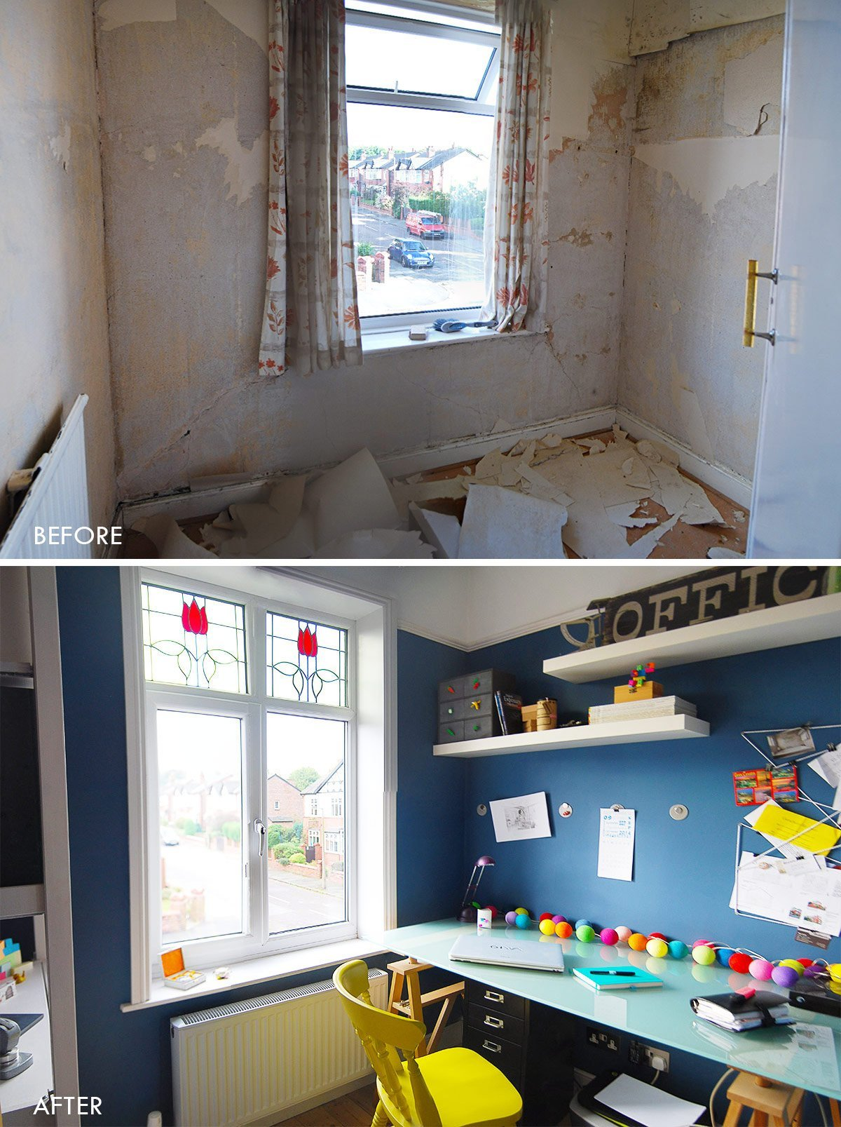 Tiny Home Office - Dark Blue Walls - Before & After | Little House On The Corner