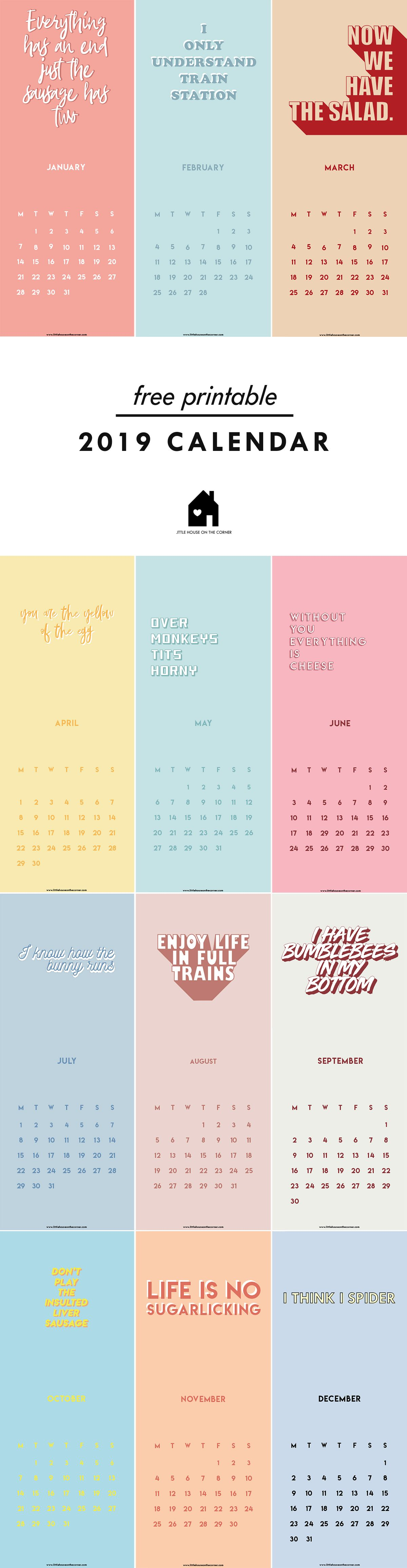 Free Printable 2019 Calendar | Little House On The Corner