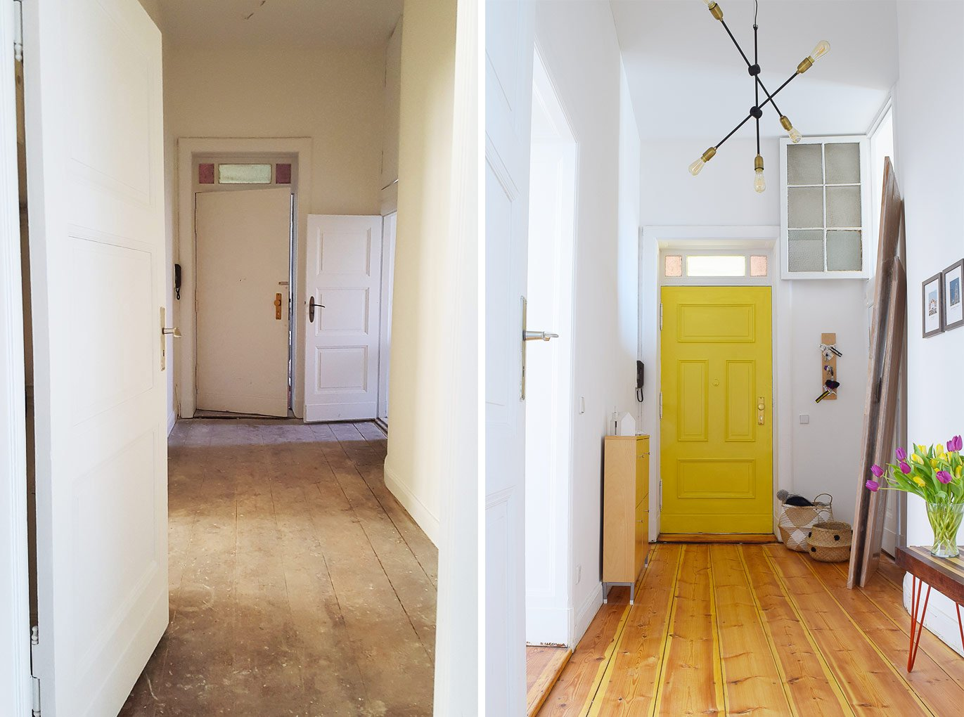 Hallway - Before & Progress - Yellow Front Door With Panelling | Little House On The Corner