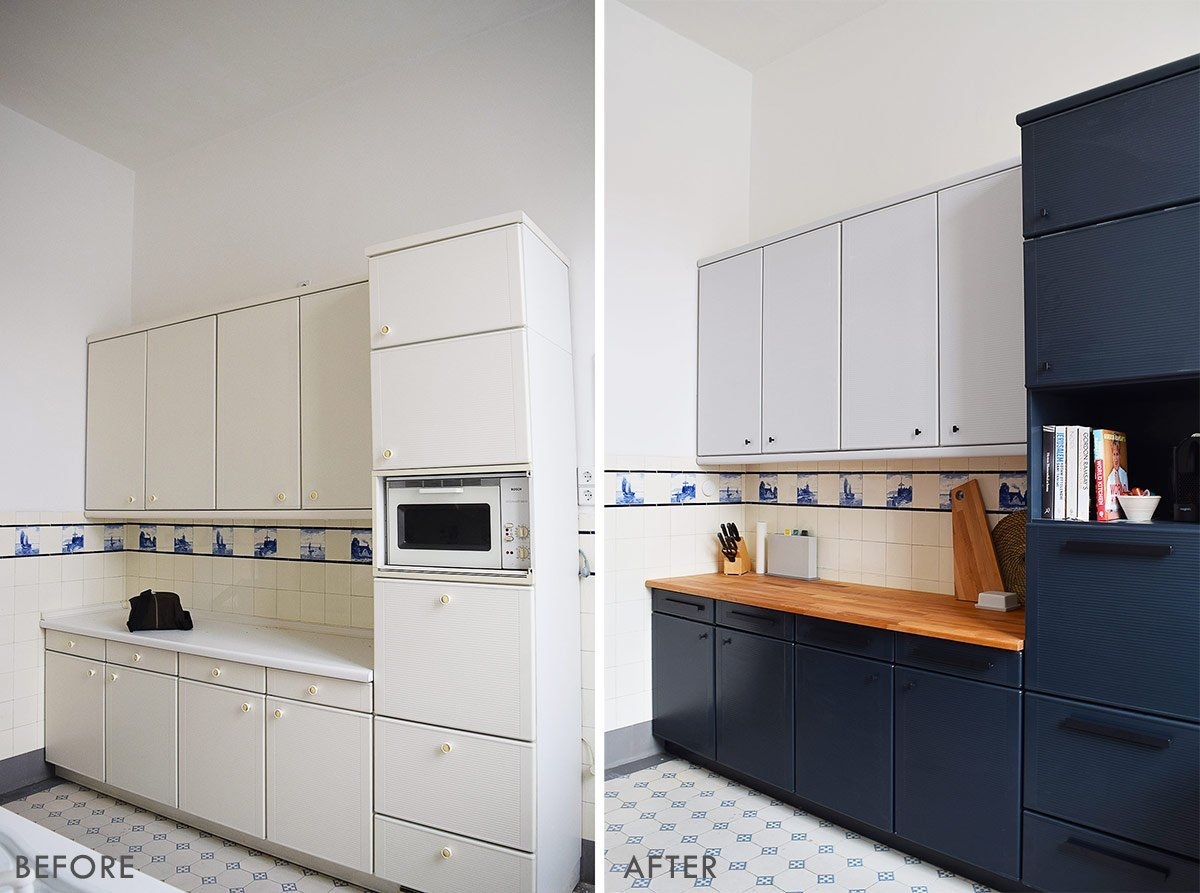 How To Paint Laminate Kitchen Cabinets + Tips For A Long ...