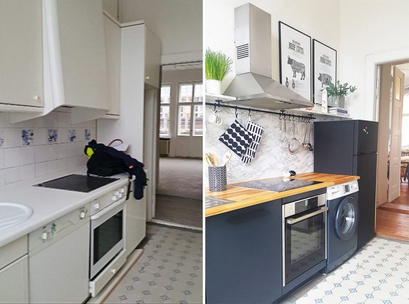 Kitchen Before and After - Floating Shelves - Painted Cabinets | Little House On The Corner