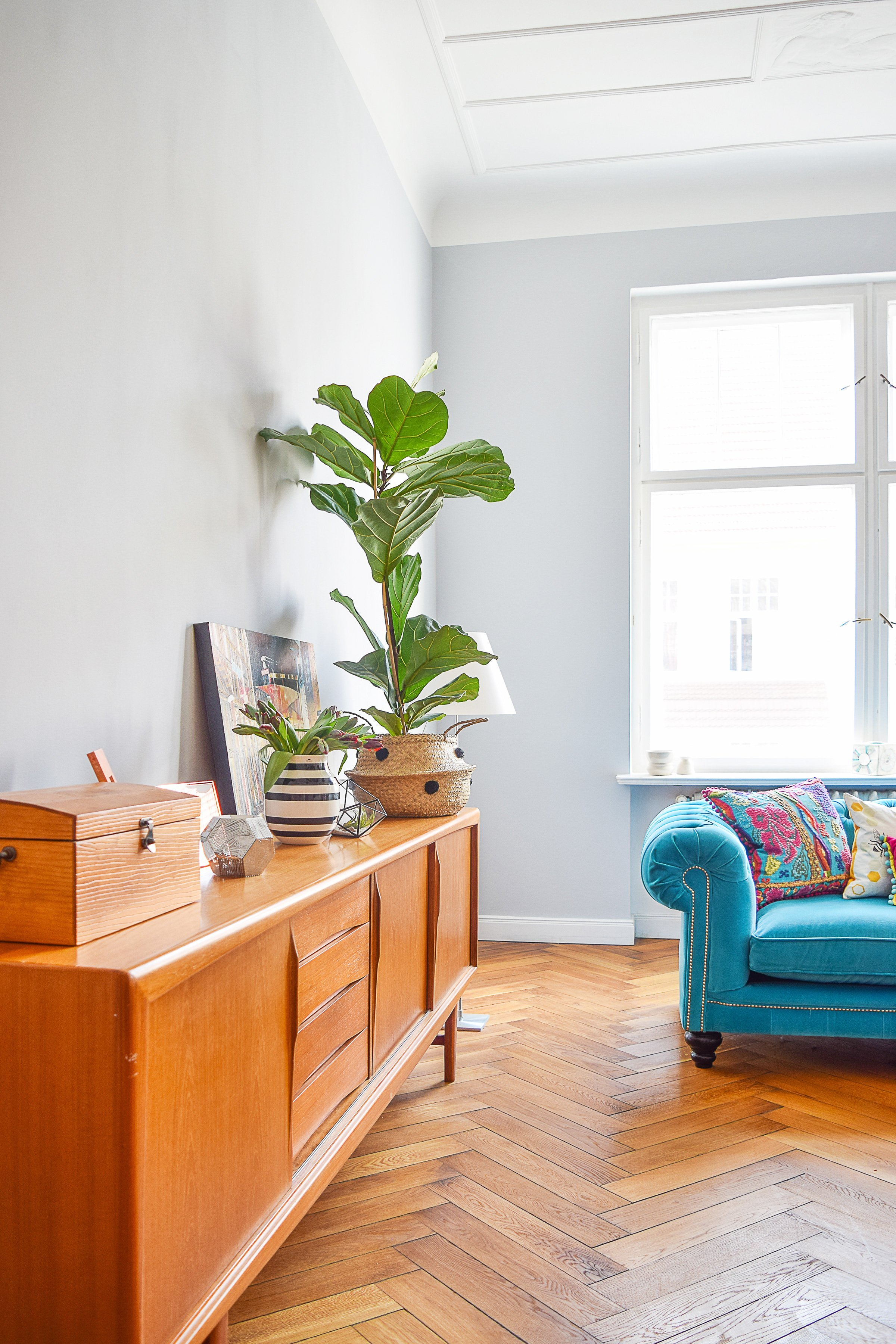 Living Room with Mid-Century Sideboard | Little House On The Corner