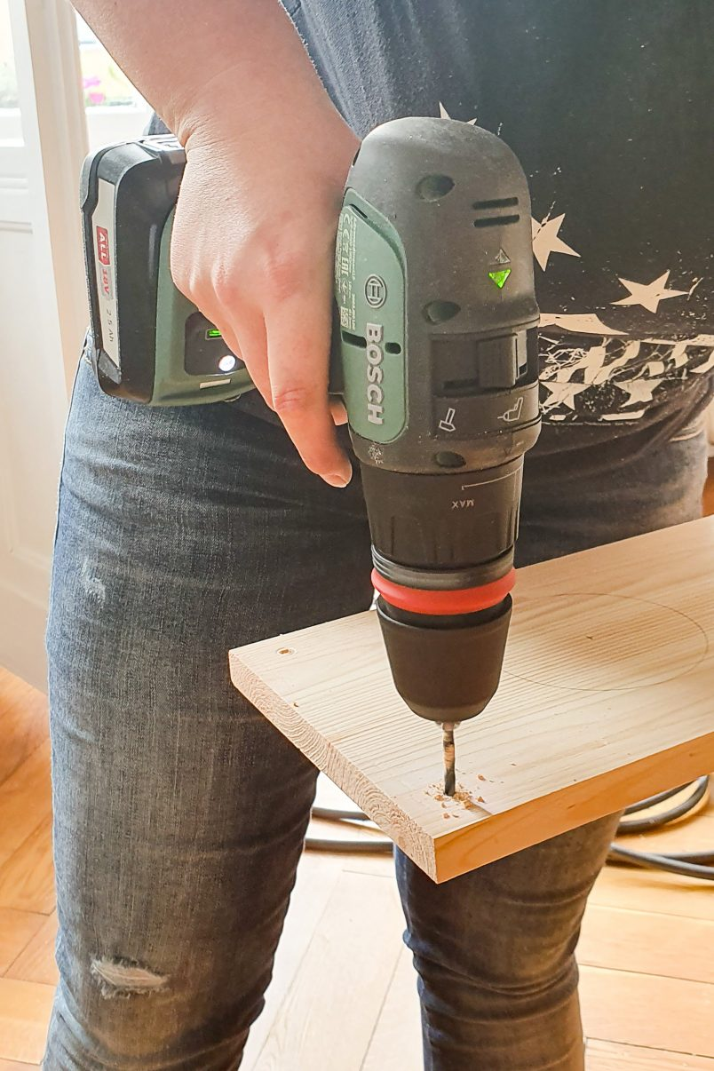 DIY Hanging Herb Garden - Drill Holes | Little House On The Corner