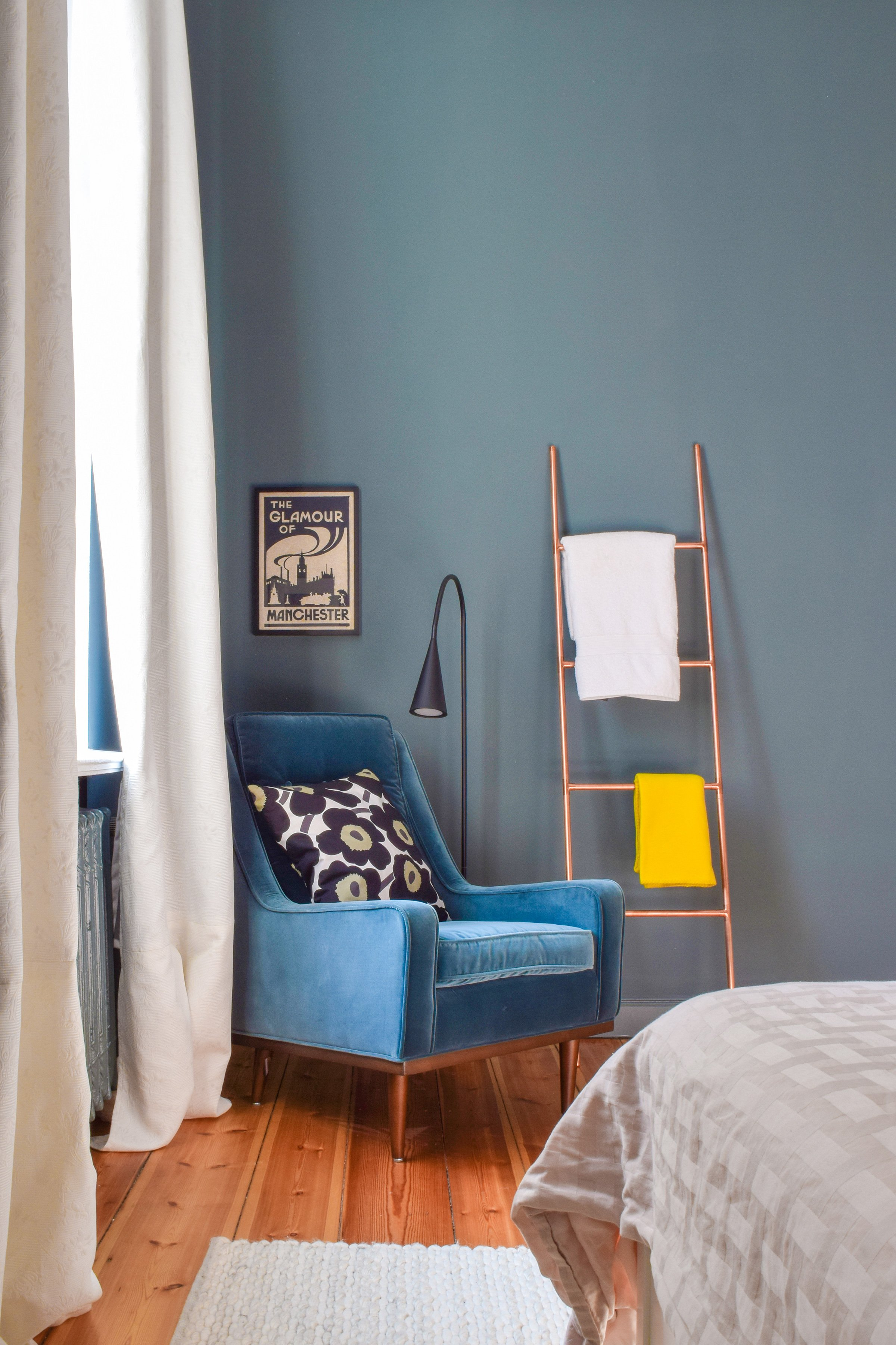 Master Bedroom Makeover | Farrow & Ball Inchyra Blue | Scott Armchair | Little House On The Corner