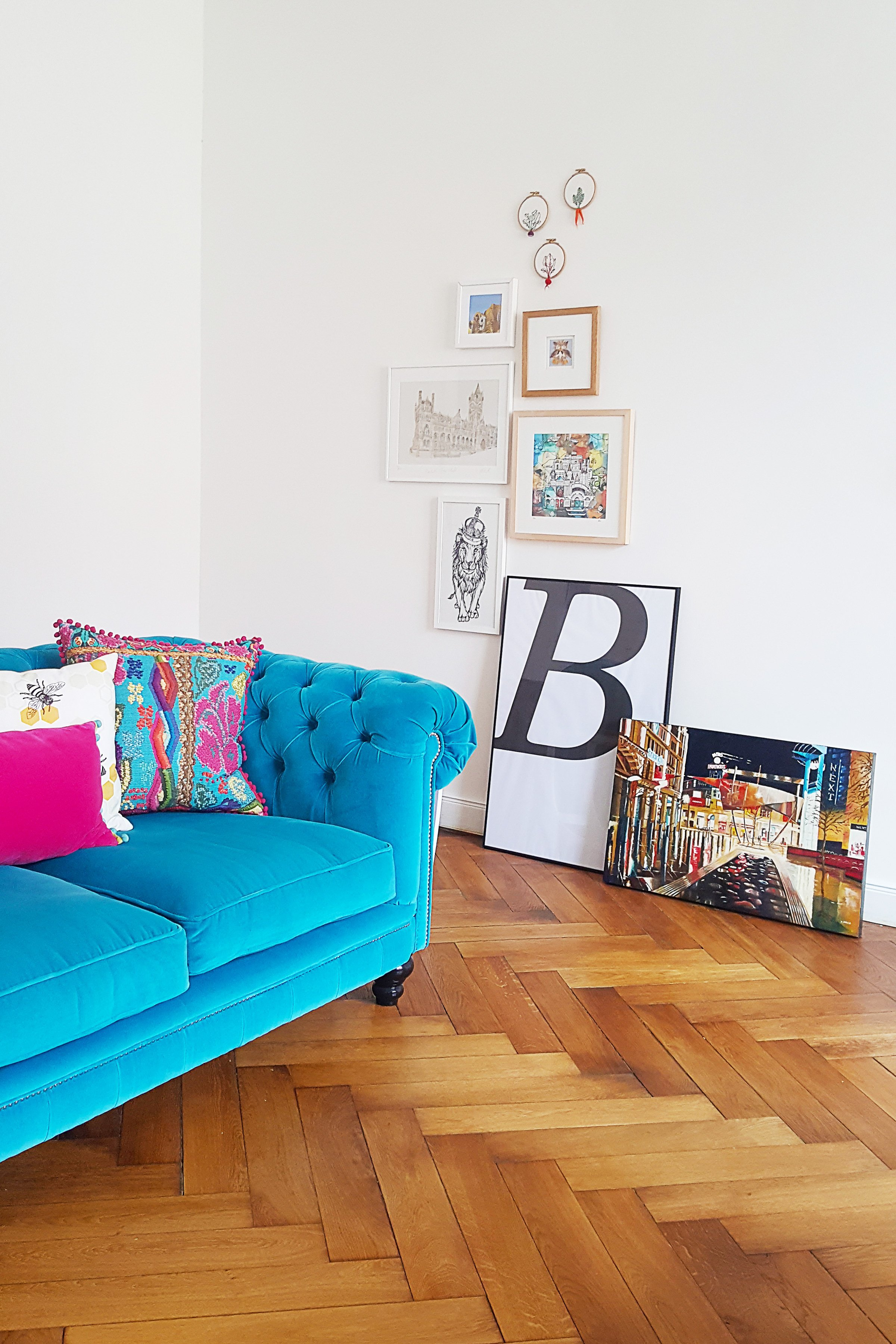 Living Room With Small Gallery Wall & Turquoise Velvet Chesterfield Sofa | Little House On The Corner
