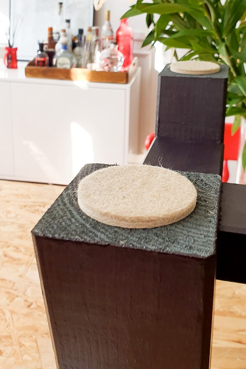 DIY Dining Room Bench - Felt Protector Pads | Little House On The Corner