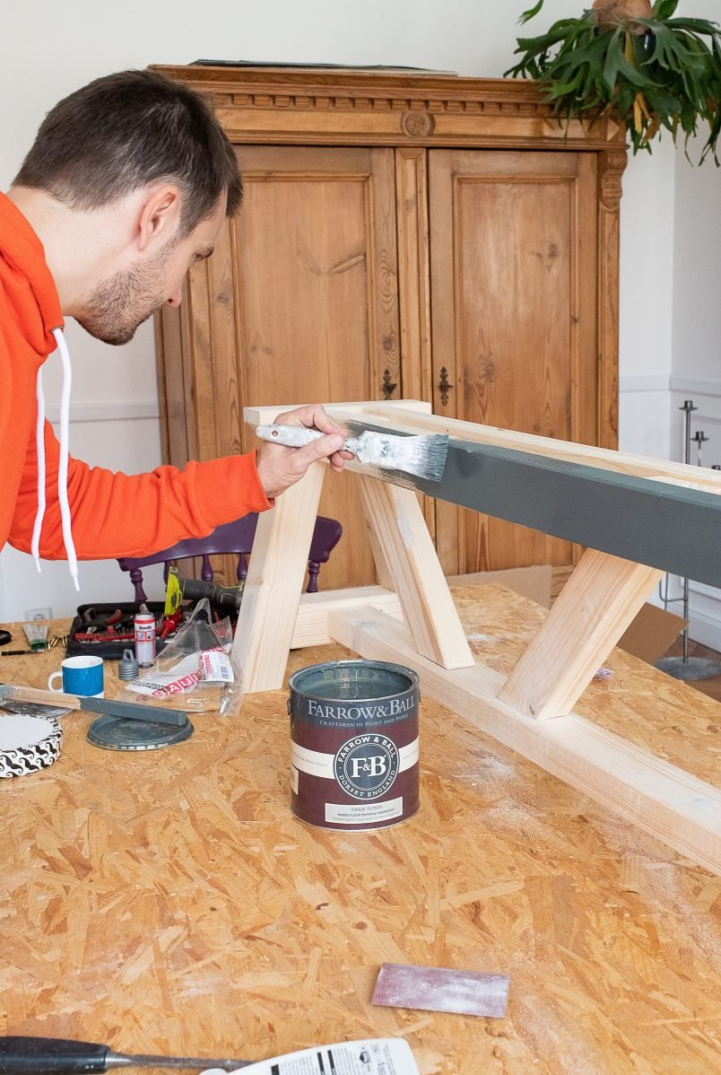 DIY Dining Room Bench - Paint| Little House On The Corner