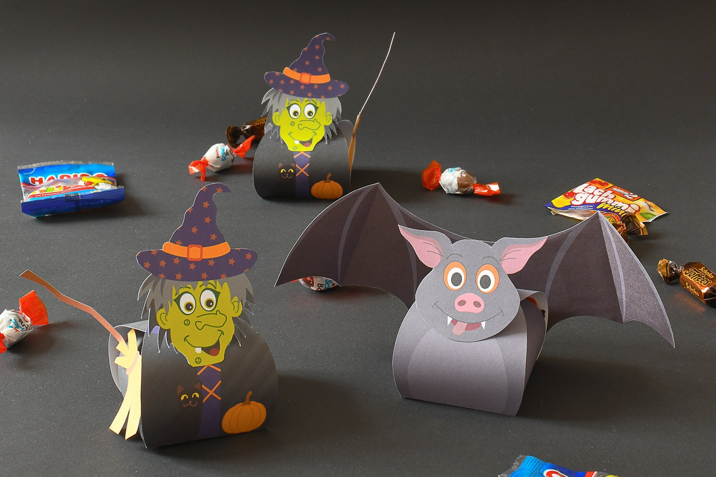 Halloween Treat Boxes - Witch Treat Box - Bat Treat Box - Free Printable | Little House On The Corner