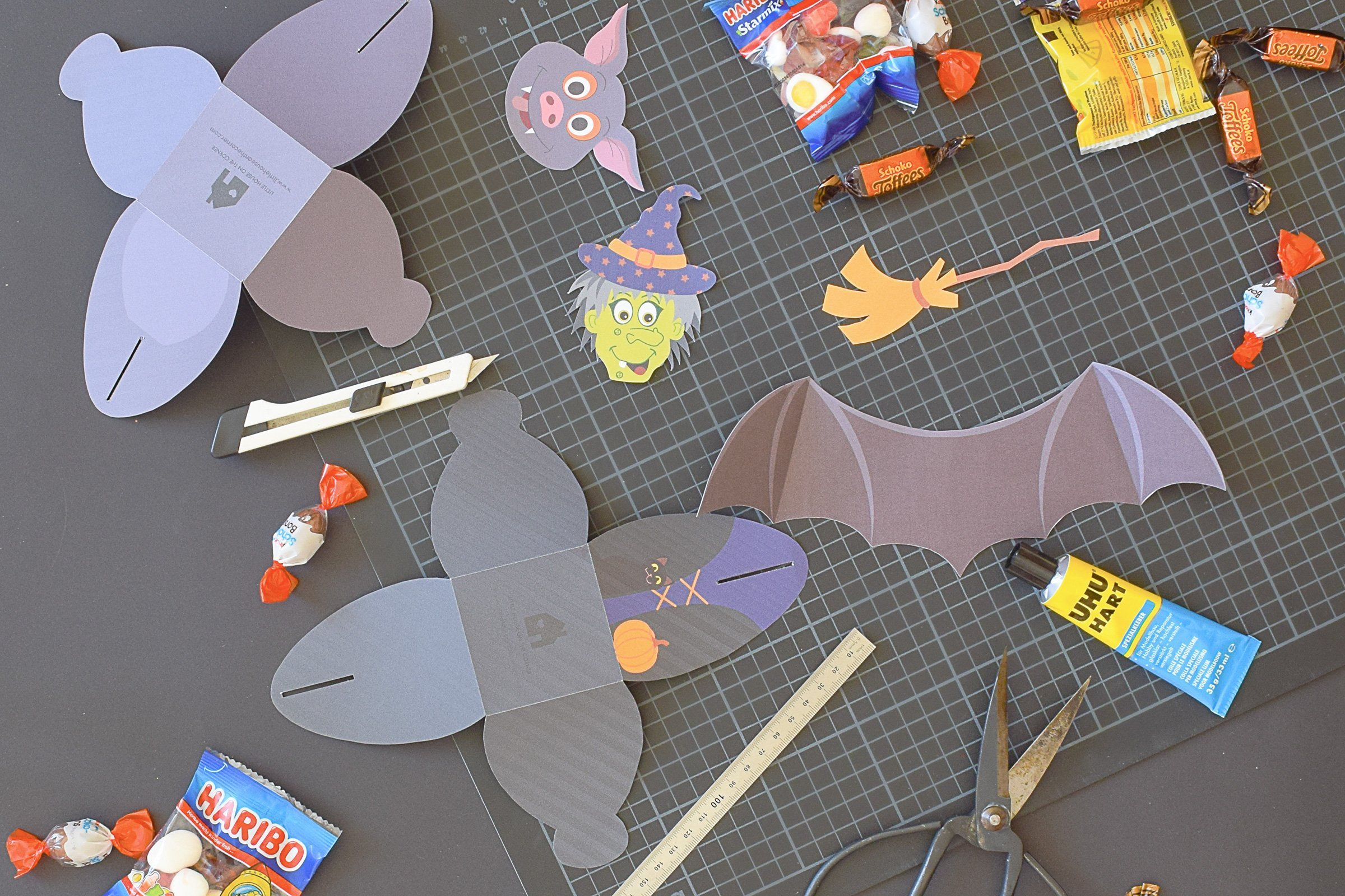 Halloween Treat Boxes - Witch Treat Box - Bat Treat Box - Cut Out | Little House On The Corner