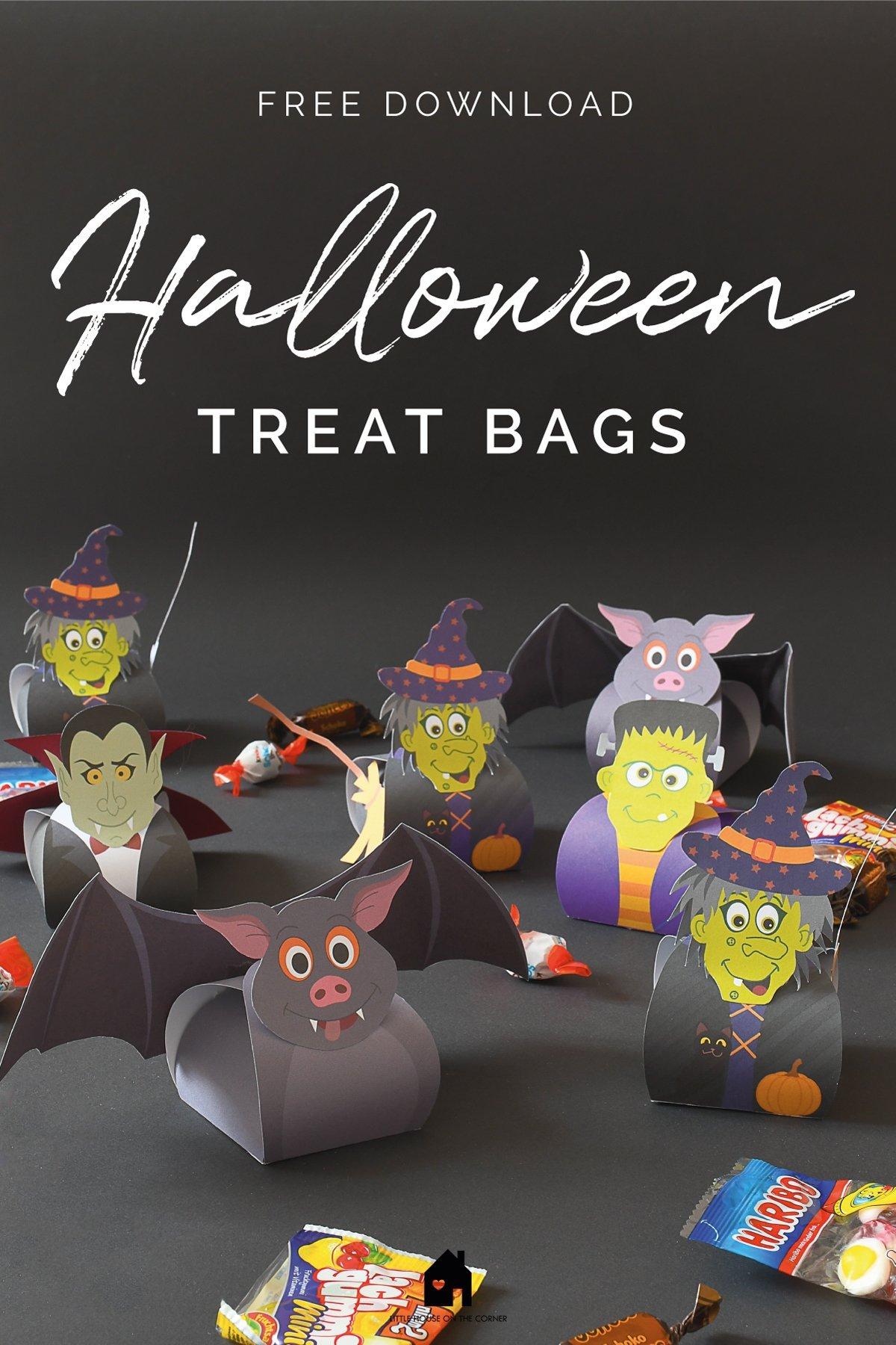 Halloween Treat Boxes - Free Printable - Frankenstein Treat Box - Witch Treat Box - Bat Treat Box - Dracula Treat Box | Little House On The Corner