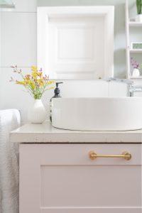 Bathroom Makeover - Swarf Hardware Myford Handles & DIY Concrete Countertop - Kohler Mica Washbasin & Composed Tap   Little House On The Corner