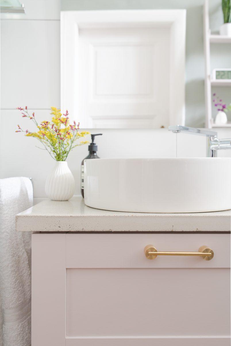 Bathroom Makeover - Swarf Hardware Myford Handles & DIY Concrete Countertop - Kohler Mica Washbasin & Composed Tap | Little House On The Corner