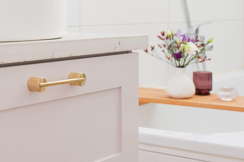 Bathroom Makeover - Swarf Hardware Myford Handles & DIY Concrete Countertop | Little House On The Corner