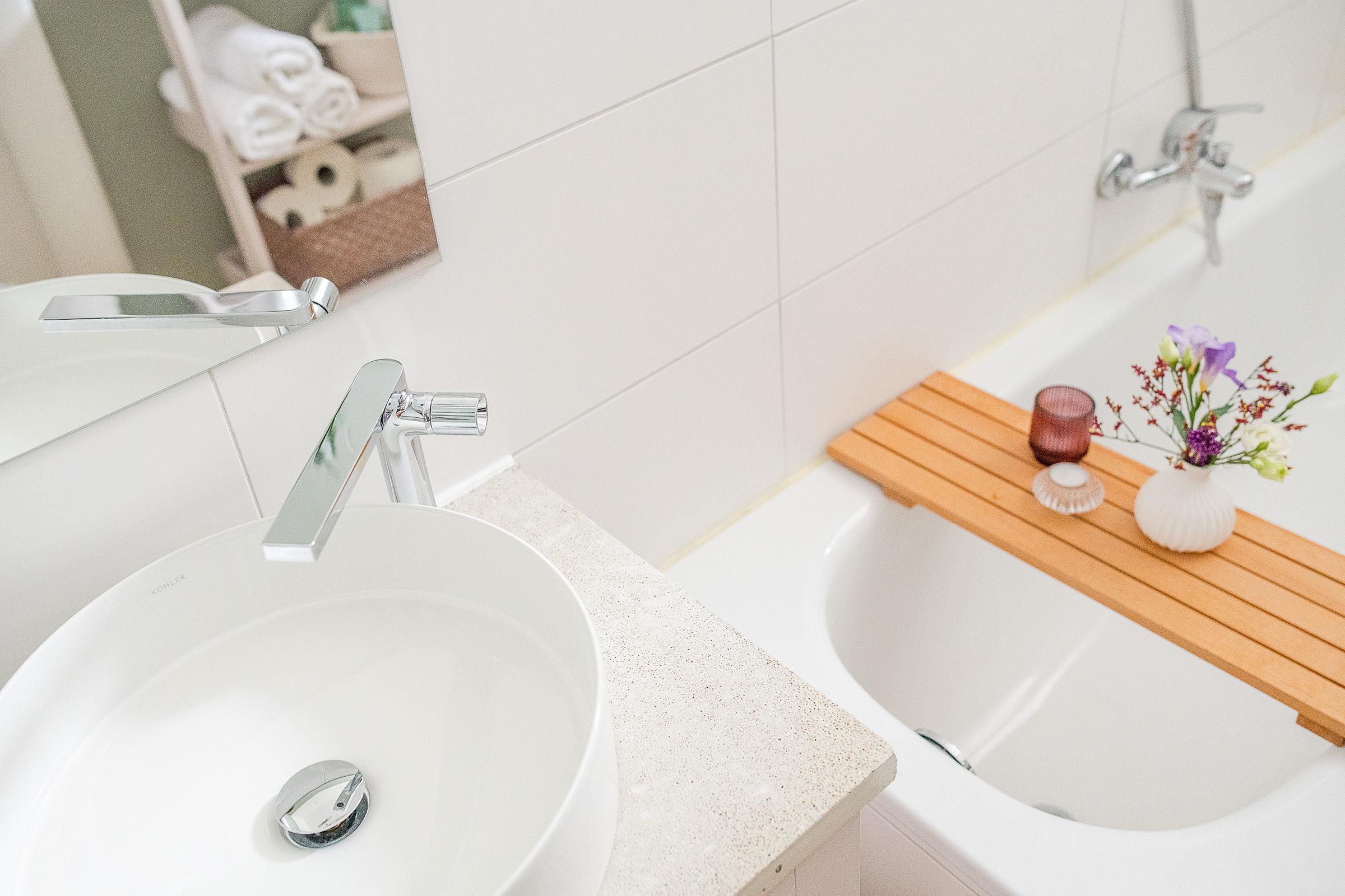Bathroom Updates With Concrete Countertop and Kohler Composed Tap & Kohler Mica Washbasin | Little House On The Corner