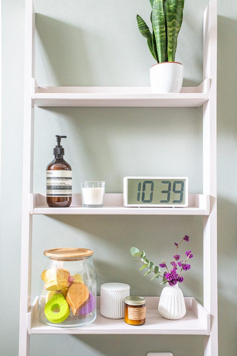 DIY Ladder Shelves - How To Guide | Little House On The Corner