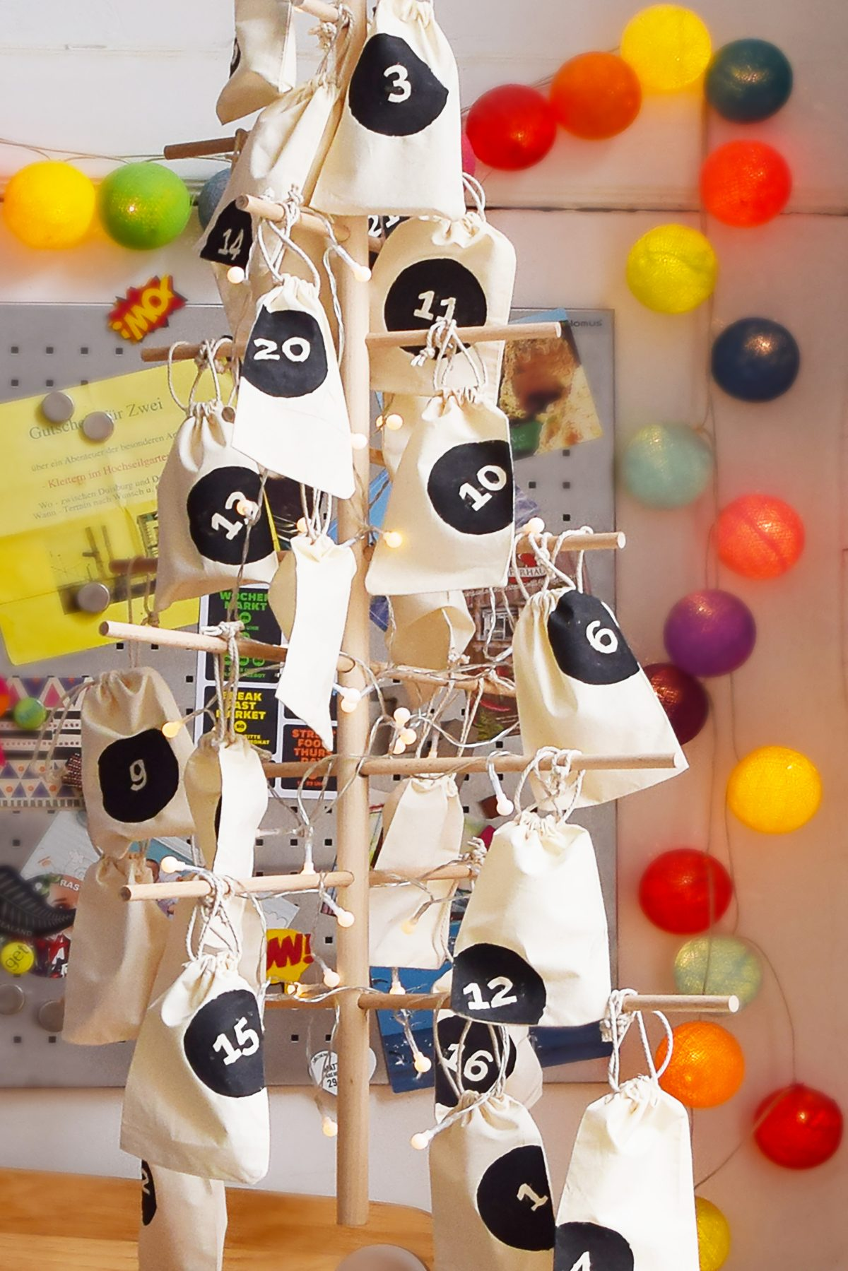 DIY Dowel Tree Advent Calendar | Little House On The Corner