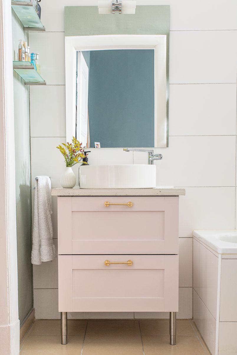 Bathroom Makeover - DIY Concrete Vanity Countertop - Kohler Mica Washbasin & Composed Tap - Pink Vanity Unit - Swarf Hardware | Little House On The Corner