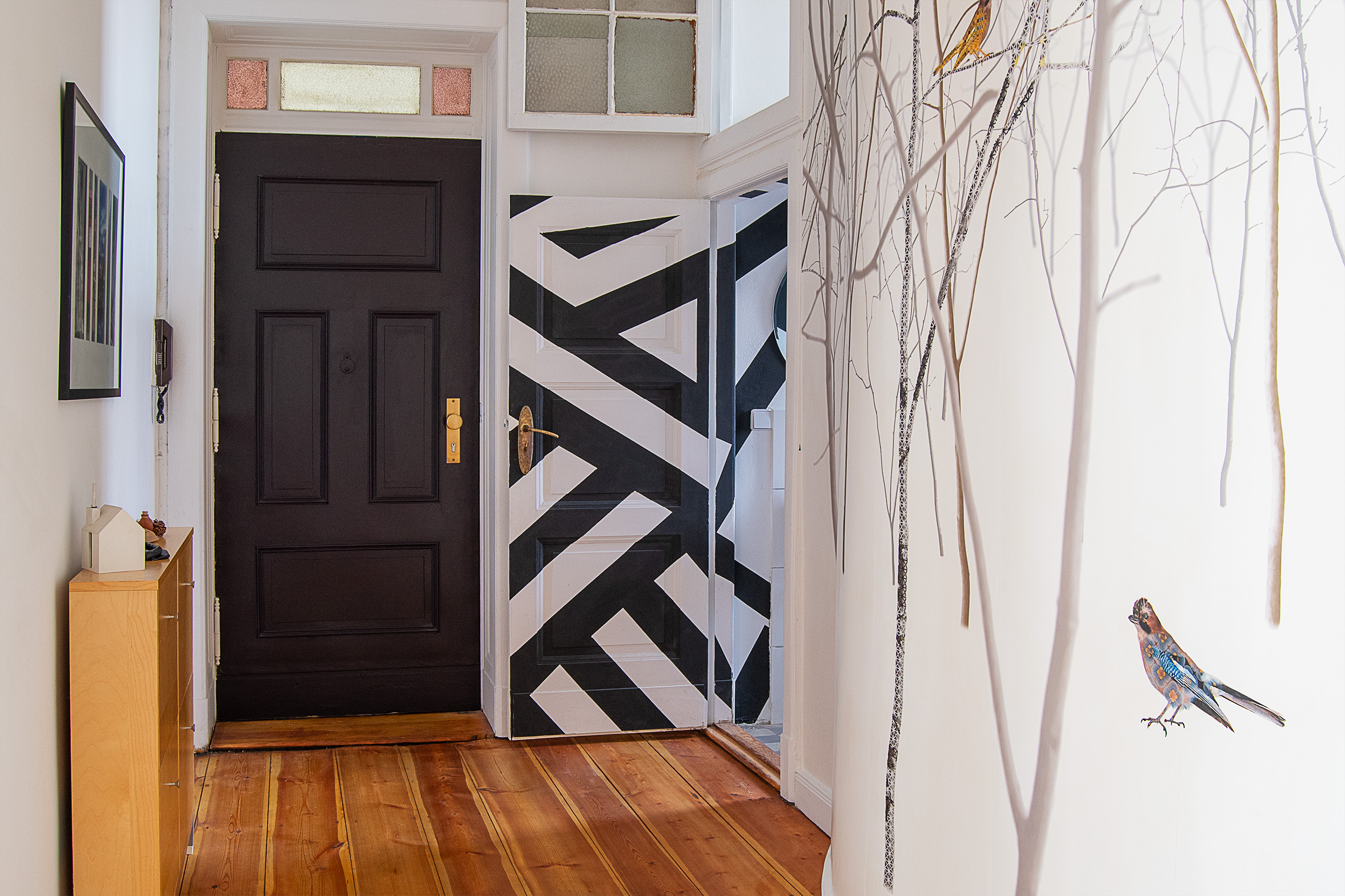 Hallway with Photowall Pattern Jay Mural and Farrow & Ball Paean Black Front Door | Little House On The Corner