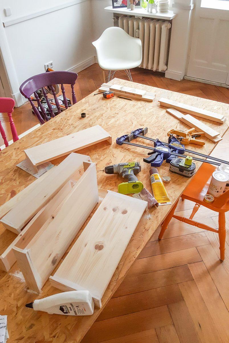 DIY Ladder Shelves - Cutting | Little House On The Corner