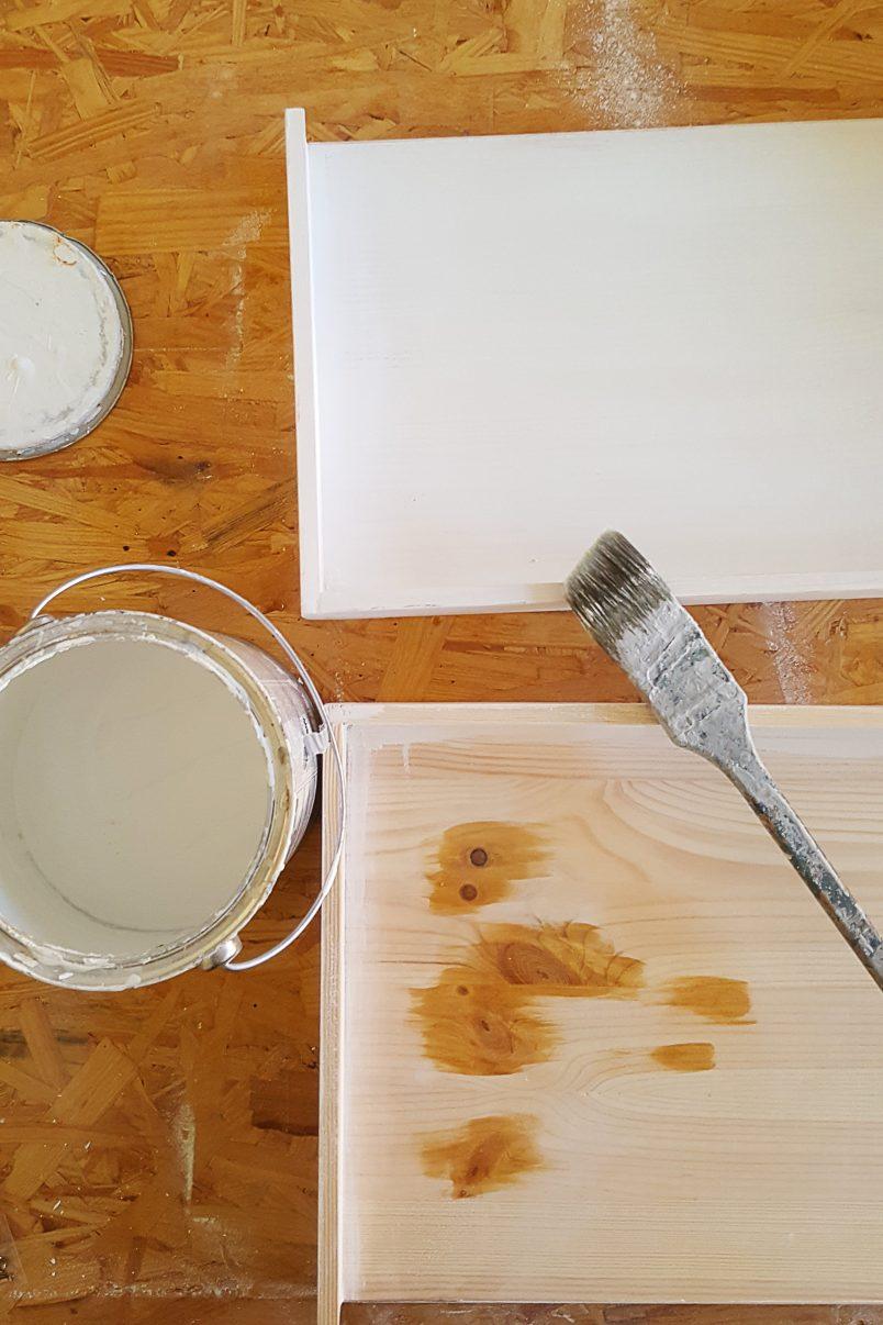 DIY Ladder Shelves - Priming & Painting | Little House On The Corner