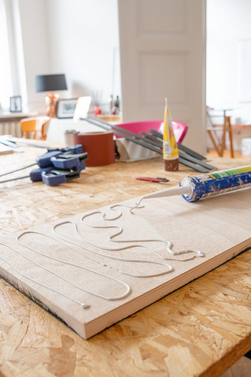 DIY Bar Cart - Attaching Mirror To Plywood Board