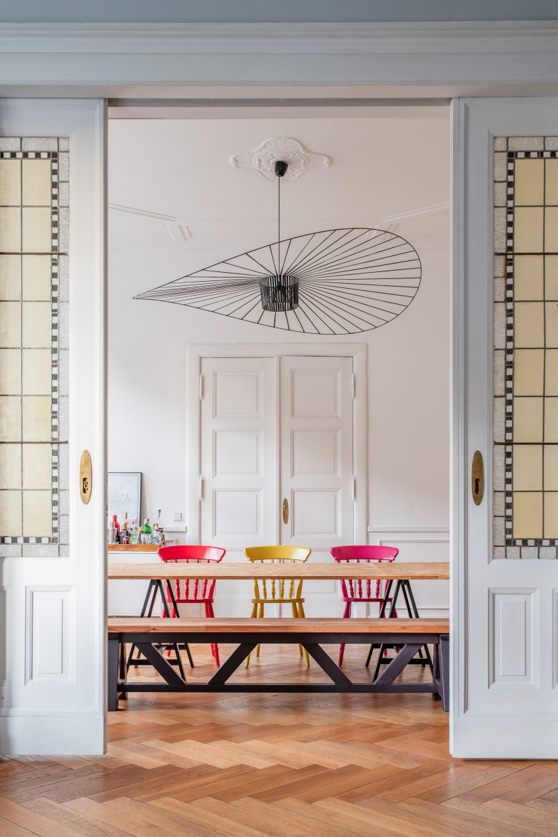 Dining room with Stained Glass Sliding Doors