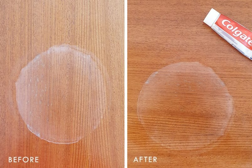 How To Remove Watermarks - Toothpase - Before and After | Little House On The Corner