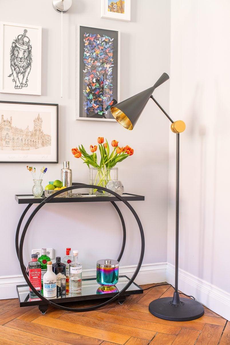 Beat Floor Lamp and Bar Cart