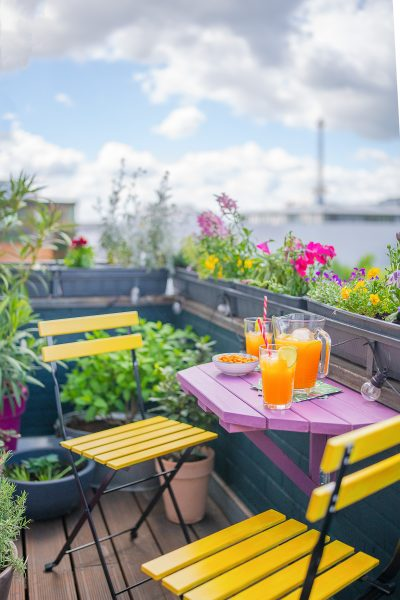 colourful garden table and chairs