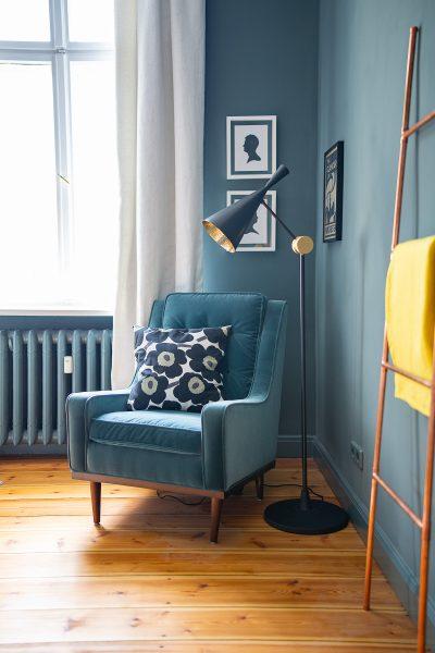 Tom Dixon Beat Floor Lamp, Inchyra Blue Walls, Scott Armchair