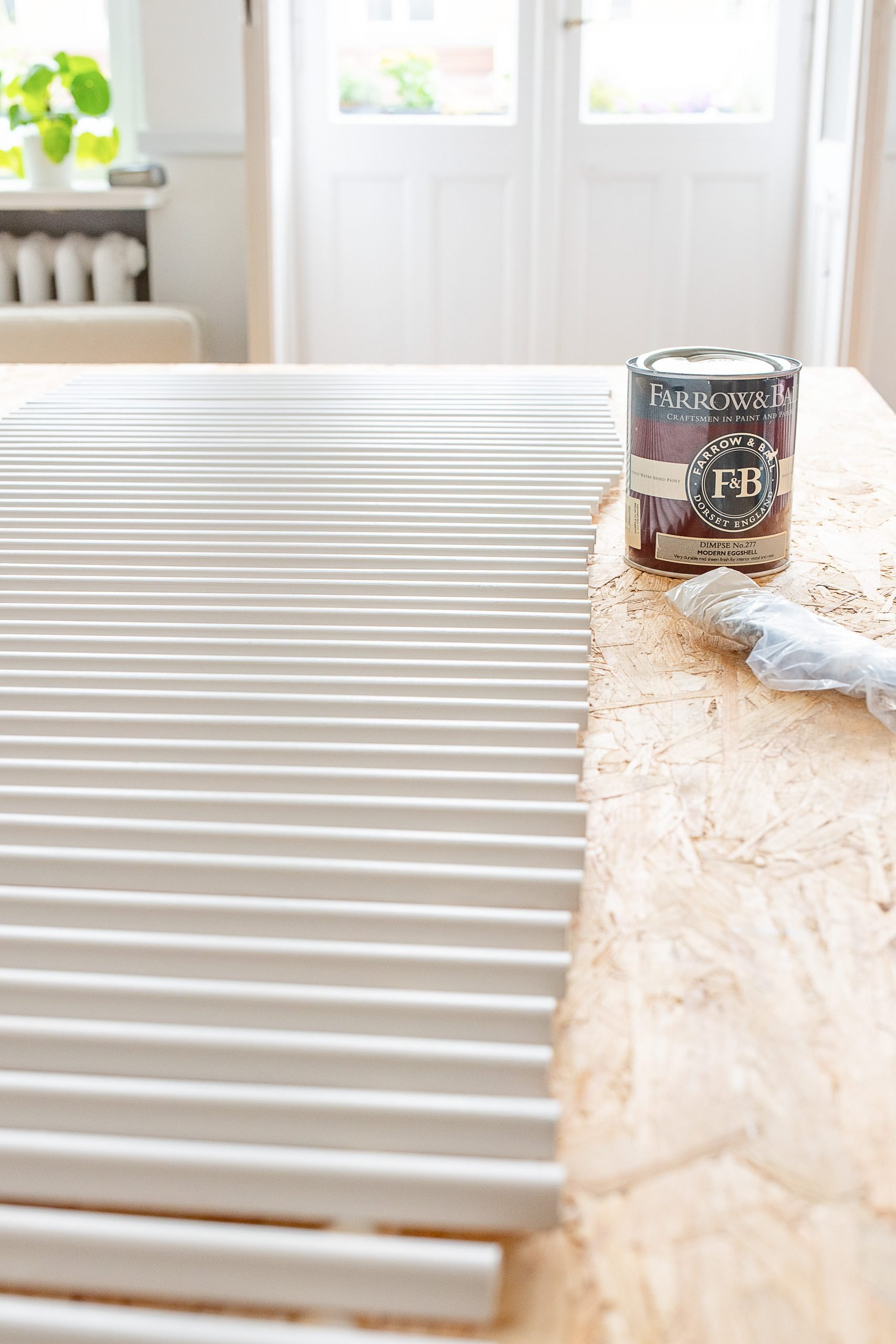 DIY Reeded Coffee Table - Painting Slats