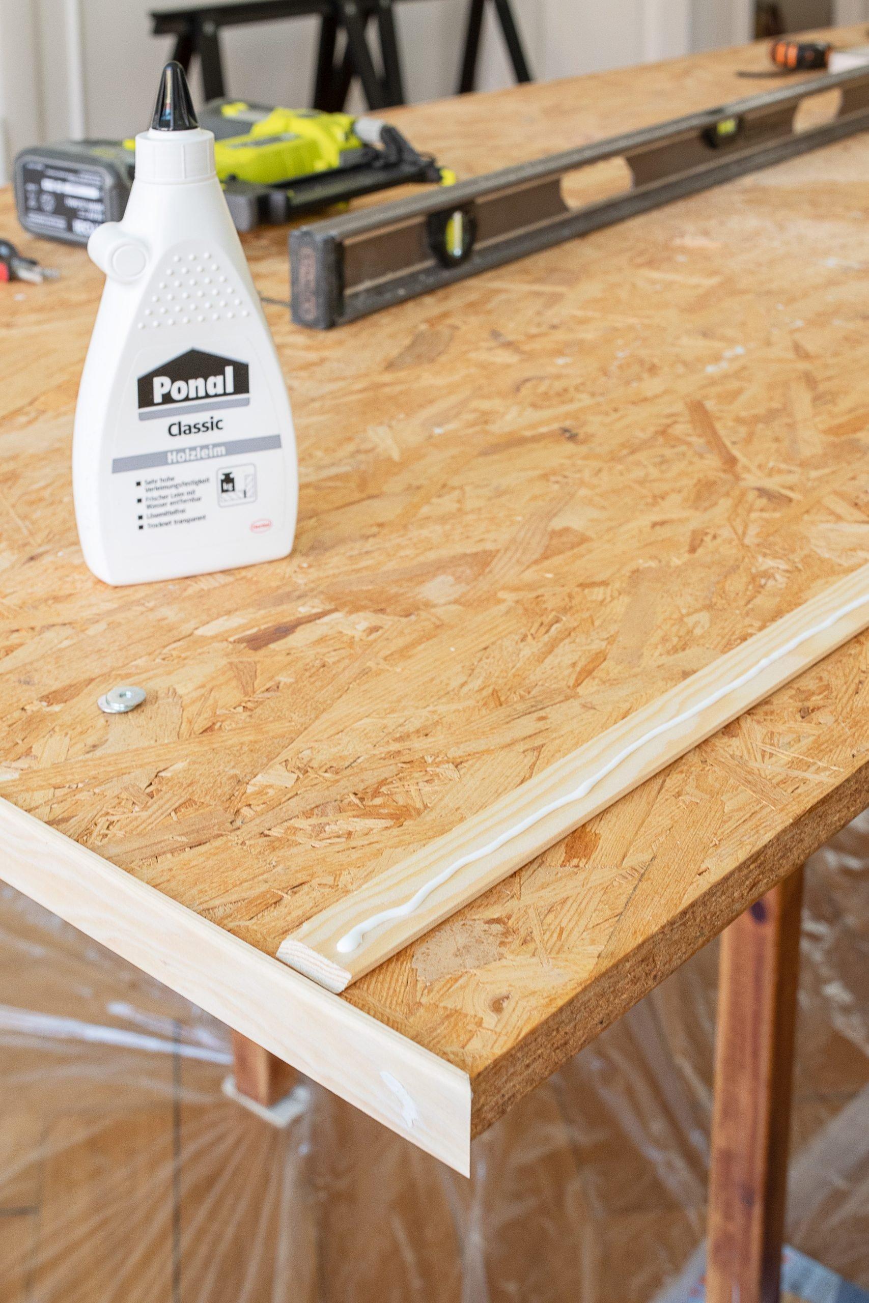DIY Dining Room Table - Cutting Edging Strip