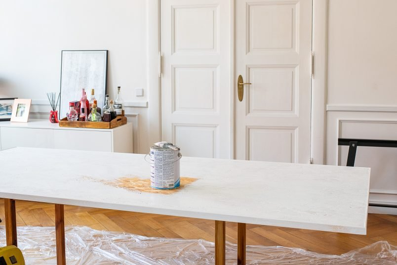 DIY Dining Table - Priming The Surface