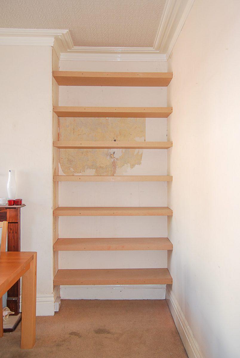 DIY Floating Shelves In Alcove