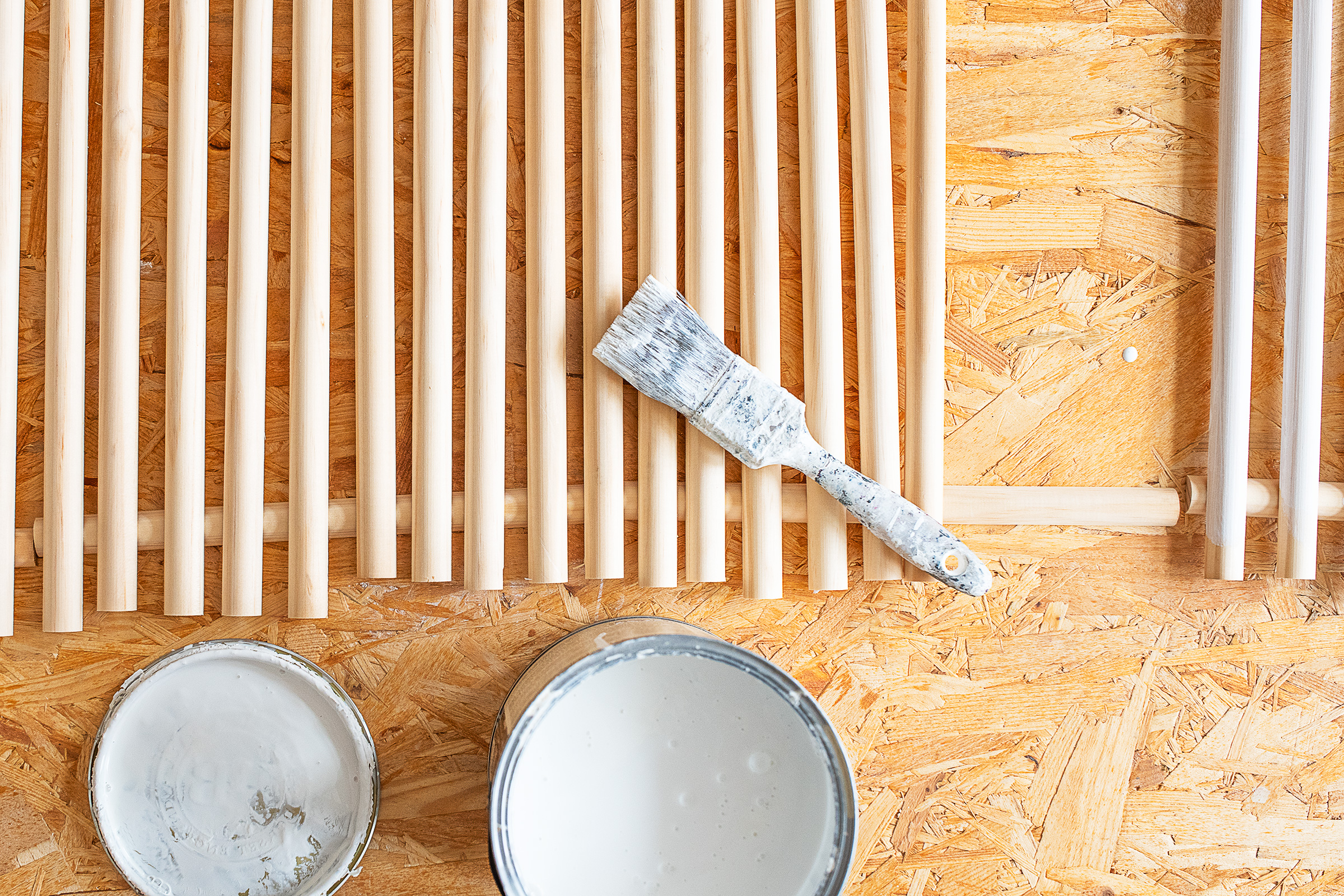 DIY Reeded Side Table - Painting Slats